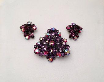 Regency Purple Aurora Borealis Rhinestone Brooch and Earrings, Regency Flower Pin,  Sparkling Jewelry,  Purple Clip on Earrings