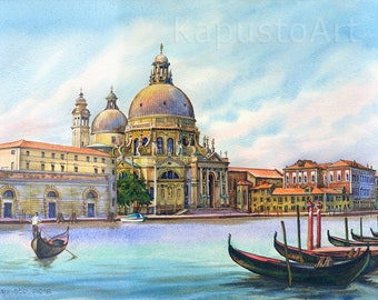 Venice Italy Grand Canal watercolour original painting, gondola boats painting, large watercolour, italian cityscape painting, watercolour