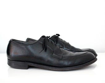 Black Pebble Leather Split Toe Blucher Dress Shoes Mens size 10.5 A Oxfords Lace Up Wright