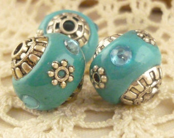 Turquoise, Silver, Blue Inlay Tibetan Tribal Beads (4)