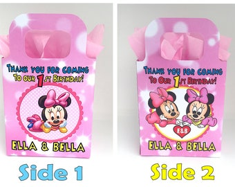 Baby Minnie Mouse Birthday Party Bag Box Personalized for sisters, twins, siblings x 1