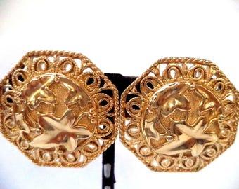 Gorgeous Jose Maria Barrera Signed Vintage Huge Chunky Earrings