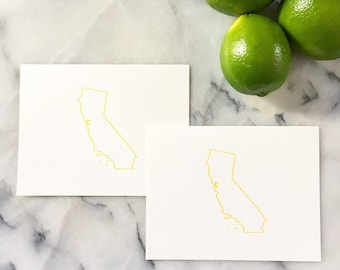 Golden State Outline in Golden Yellow, Set of 4 Cards with Envelopes