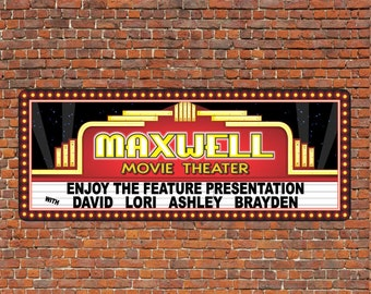 Personalized Home Theater Wall Decor   Vintage Style Movie Marquee Sign  Neon Glow Effect Lettering,