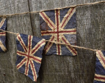 Union Jack Bunting, Hand Painted Flag, Primitive British Flag Bunting, Gift For Her, United Kingdom Genealogy Gift, Gift For Him, UK Flag