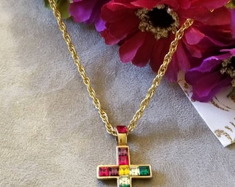 Multi Crystal Cross Necklace, Cross Necklace, Ladies Gold Plated Cross, Rope Chain, Christian, Assorted Stones, Red, Blue, Green Stones