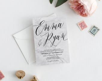 Marble Wedding Invitation | Wedding Invitations | Marble Wedding Invitation | Modern Wedding Invitation | Marble Wedding