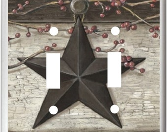 Barn Star Vines and Berries Rustic Country Design  Light Switch Cover Plate or Outlet   Home   Decor  Free Shipping in U.S.!!!