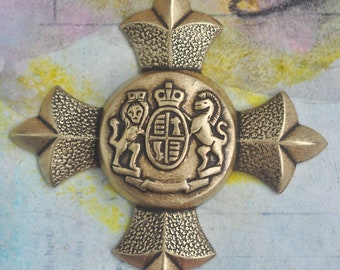 Brass Medieval Crest, Scrapbooking, Jewelry Making, Brass Ox, Gothic Supplies, Brass Stampings Made in the USA