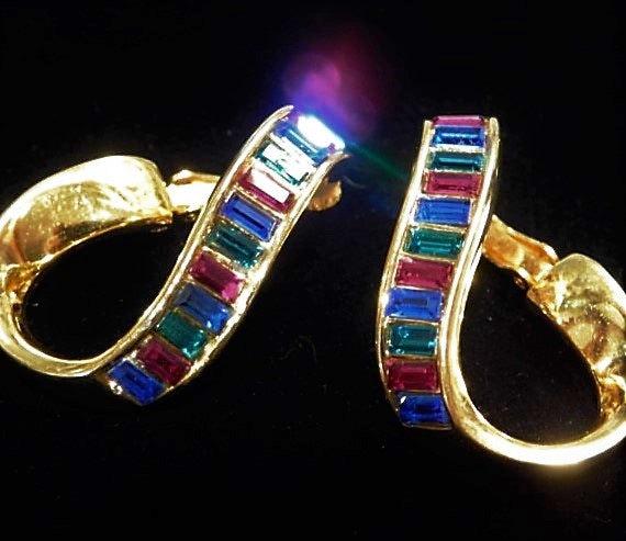 Swarovski Rhinestone Earrings  / SAL Baguette Crystal Earrings / Clip On