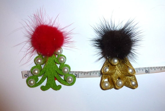 Puppy Dog Bows ~ Christmas tree green/red or gold/pearls marabou feather puff  pet hair bow barrettes or bands (fb106)