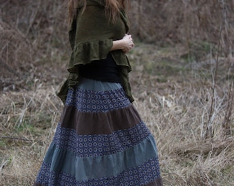 Greyish-Brown, Blue and Indian Patterned Handmade Gypsy Tiered Maxi Skirt