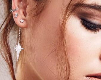 Silver Star Drop Earrings, Star Earrings, Dangle Earrings, Star Stud Earrings, Drop Star Earrings, 925 Sterling Silver, CZ, Cubic Zirconia