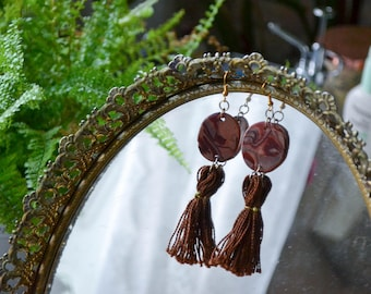 Handmade Polymer Clay Oval Earrings with Tassels