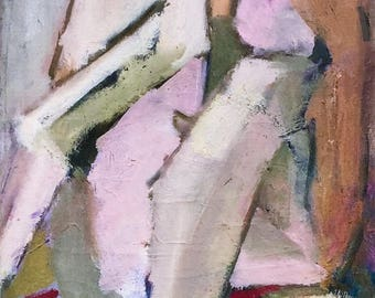 Mid Century Oil Painting Modern Abstract Seated Female Figure.