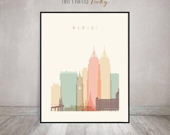 Mumbai art print, Poster, Wall art, Travel, India cityscape, Mumbai skyline, City poster, Home Decor, Digital Print, gift ArtPrintsVicky