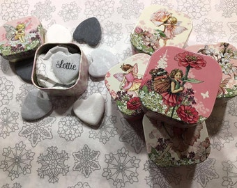 Flower fairy make a wish heart stone personalised stocking filler