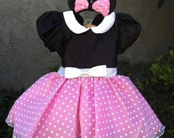 Pink Minnie Mouse dress set