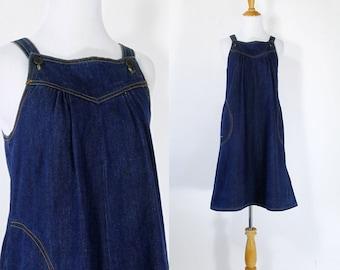 Vintage 1970s Dress   70s 80s Denim Jumper Trapeze Dress   Dark Blue   S M