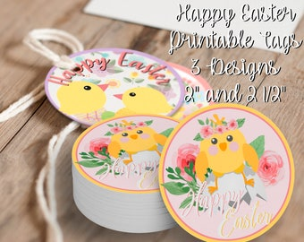 Happy Easter Tags, Printable Easter Tags, Happy Easter Party Supplies, Easter Printable Tags, Easter Labels, Happy Easter Printable Tags