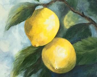 """The Lemon Tree 6"""" x 6"""" Original Lemon Painting by Torrie Smiley"""