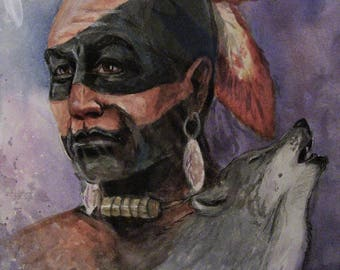 Native American, 16x20 Original Watercolor Painting,One of a Kind,Not a Print