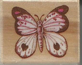 Mini papillon timbre--Nouveau--bois monté timbre en caoutchouc - Rubber Stampede marque--(#1468)