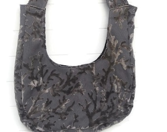Grey Gray Cut Velvet Bag