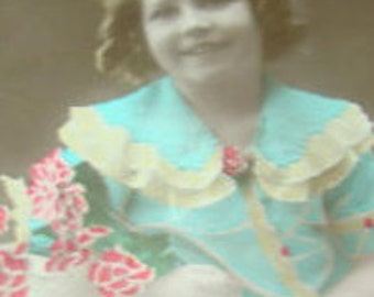 SALE Vintage Hand Tinted RPPC of Little Girl with Flowers