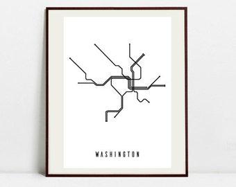 Washington Metro Map - Black and White Art Print - Digital Download Art Print