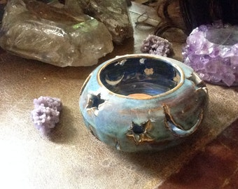 Moon and stars candle holder