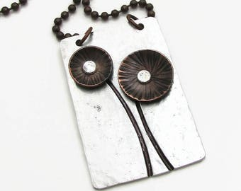 Metalwork Necklace with Mixed Metal Copper Flowers and Rivets - Cold Connection Hand Stamped Necklace - Aluminum and Copper (104)
