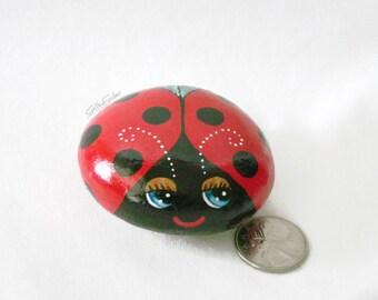 Painted rock, painted stone, ladybug, bug rock, bug stone, red ladybug, big eyes, garden decor, cute bug rock, ladybird stone, sparkly wings