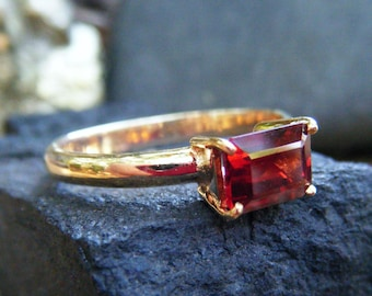 GARNET engagement ring, emerald cut red garnet, alternative engagement ring, garnet ring gold, bridal ring, promise ring, gold garnet ring