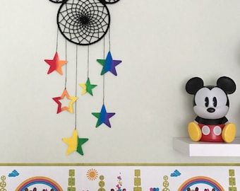 Rainbow Mickey Mouse Mobile, Mickey and Minnie mouse, Disney themed bedroom, Mickey Mouse room, Minnie mouse