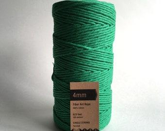 Green Macrame Cord / 4mm Single Strand Cotton Fiber Art Rope / Emerald / Kelly Green