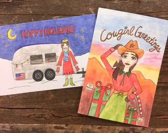 Cowgirl Greetings + Hippie Holidays Postcards (5 of each)
