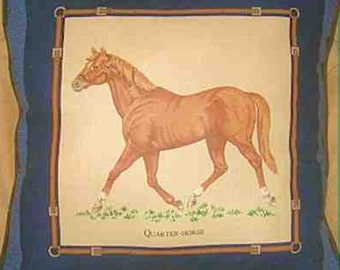 "Final Markdown Sale...QUARTER HORSE Decorative Throw Pillow 16""...choose blue or green color"