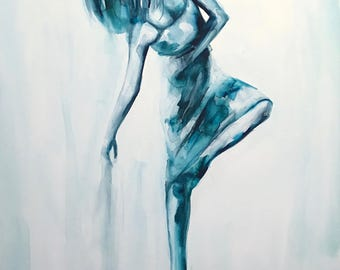 Original 16 x 20 inch watercolor painting of a the female form