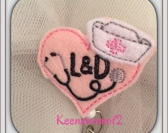 Super cute Labor & Delivery Nurse -Retracatable Badge ID Holder-RN- Registered Nurse