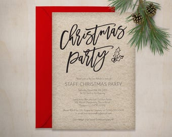 Christmas Party Invitation, Printable Rustic Christmas Invitation Template, Instant Download, Editable PDF, WLP492