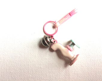 bell charm, plastic charm necklace 80s, vintage, retro, eighties, pink, white, faucet, spigot, gardening, water