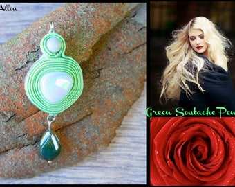 Green Soutache Pendant // White Glass Pendant // Modern Soutache Pendant // Agate Soutache Pendant // Round Soutache Pendant