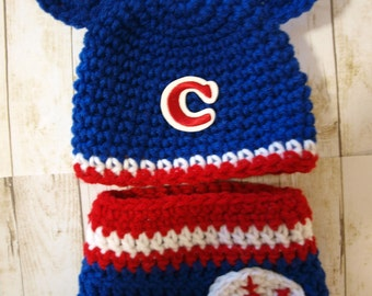 Chicago Cubs baby hat and diaper cover, newborn Chicago Cubs hat and diaper cover, Chicago Cubs newborn outfit, baby Chicago Cubs clothes