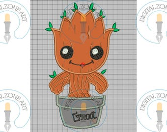 Baby Groot Applique-Baby Groot Portraid Head-Guardians of Galaxy-Machine Embroidery Designs - INSTANT DOWNLOAD