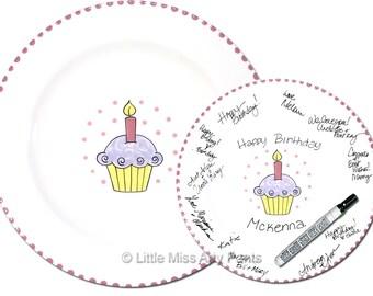 Free Shipping - Hand painted Signature Birthday Plate  - Lavender Birthday Cupcake - Happy Birthday Plate - 1st Birthday - Birthday Gift