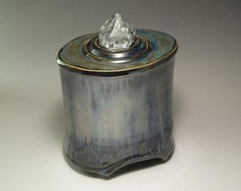 Urn- Memorial/Cremation Vessel- Rainbow Quartz Crystal Top