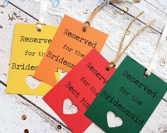 19 Rustic Wedding Reserved Sign Tags Personalised. 21 Colour Options,  Heart Cut Out Detail. Handmade. Lace, Twine or Ribbon. Wedding Sign
