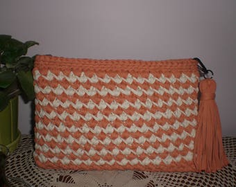 Orange- cream colour crochet bag,crochet clutch bag, clutch bag,crocheted purses,everyday bag, handmade, gift for wife,evening clutch bag ,
