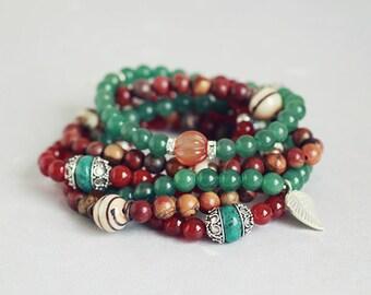 Red carnelian, picasso jasper, green aventurine stacking stretch bracelet set